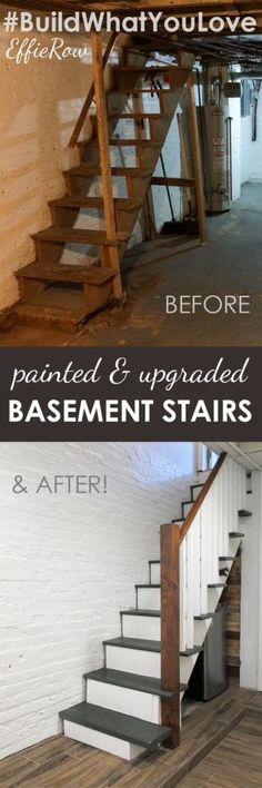Definitely an affordable option. No need to rip out old basement stairs. Paint a. Definitely an affordable option. No need to rip out old basement stairs. Paint and stain works WONDERS. Old Basement, Basement Makeover, Basement House, Basement Plans, Basement Bedrooms, Basement Stairs, Basement Renovations, Home Remodeling, Basement Decorating