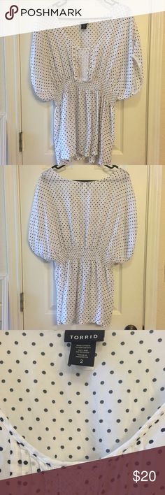 Cinched Waist Top-- Torrid White with black polka dots. Cinched, stretchy waist. Lace details. Worn just a couple of times. Torrid. Size 2. torrid Tops Blouses