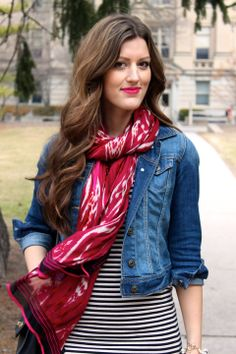 Striped dress, a printed scarf and a denim jacket... perfect for spring!