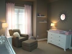 Nursery with taupe paint.  So soothing, very crisp. Also very versatile so you can easily update it to a toddler, and young child's room... or even swap it for a baby boys room.
