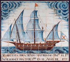 SPAIN. Panel of ceramic polychrome tiles depicting a bergantina. 1779. Catalan ceramics. From the Oratory of Mariners, Palma of Majorca. Maritime Museum. Barcelona. Spain