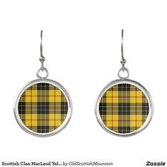 Scottish Clan MacLeod Yellow Black Tartan Plaid Earrings
