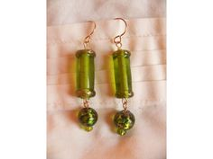 Dragonfly Designs. Green Glass 14kt Gold-Filled Earrings.