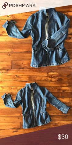 High Neck Denim Jacket Absolutely love this jacket! Just doesn't fit me anymore. Roll up cuffs, high neck detail, looks stunning dressed up or down! Jackets & Coats Jean Jackets