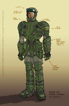 Power Suit: SST by filbarlow on DeviantArt Starship Troopers, Sci Fi Armor, Future Soldier, Cyberpunk Character, Seven Deadly Sins, Character Design References, Warfare, Star Wars, Fan Art