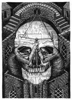 phlegm small illustration i did for a book called cranium. Image Illusion, Illusion Pictures, Illusion Art, Cool Illusions, Optical Illusions, Trippy Pictures, Art Optical, Skeleton Art, Demon Art