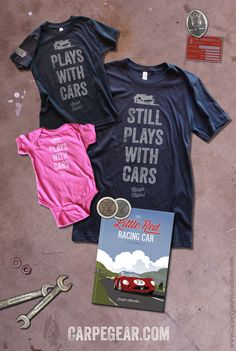 "The PERFECT t-shirt pairing for car guys and gals from 1 day old to 103. Oh, and ""The Best Kids' Car Book Ever"" according to Yahoo!™ Autos."