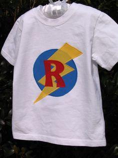 #Superhero initial shirts $15 (poodaloo.etsy.com)