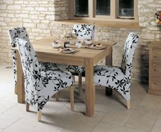 buy baumhaus mobel oak dining set with 4 upholstered chairs 120cm online cfs uk