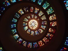 'Glory Window', one of the largest horizontally mounted stained glass pieces in the world. The Chapel of Thanksgiving. Dallas, Texas. Photo by Andy New.