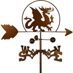 Add a bit of decoration outside your home with this lovely handmade weathervane featuring the shape of a dragon. The weathervane can be mounted on the side of your home, its roof, or planted in a lawn or garden to add a rustic decorative touch.