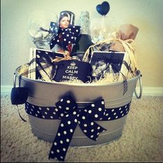 Personalized Engagement gift basket by PumpkinLoveCreations Diy Gift Baskets, Raffle Baskets, Wine Baskets, Gift Hampers, Engagement Gift Baskets, Personalized Engagement Gifts, Engagement Presents, Craft Gifts, Diy Gifts