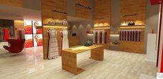 Loja Feminina vista araras, com piso em laminado madeira e painéis de exposição revestidos em madeira idealizado pela Rangel Produções Artísticas e Design de Interiores! (rangel@rangelproducoesedesigndeinteriores.com)