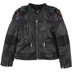 Black leather jacket with rhinestones and sequins ROBERTO CAVALLI KIDS