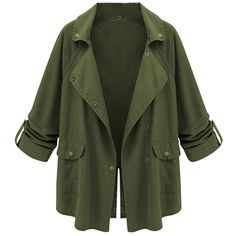 Womens Casual Notch Lapel Back Slit Trench Coat Military Green (3.045 RUB) ❤ liked on Polyvore featuring outerwear, coats, jackets, green, green military coat, green trench coat, olive green coat, trench coat and olive coat