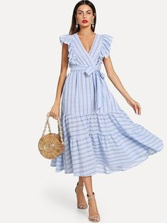 Milumia Women Striped Wrap Fit and Flare Ruffle Sleeveless Sundress V Neck Sleeveless Dress Blue XS Belted Dress, Ruffle Dress, Striped Dress, Ruffle Trim, Dress Skirt, Casual Dresses, Fashion Dresses, Summer Dresses, Pretty Dresses