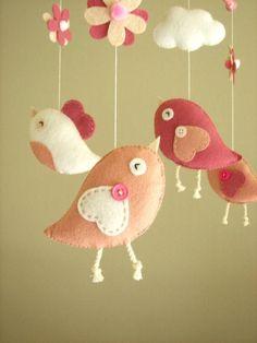 Baby Mobile Inspiration, Felt Bird Mobile by Feltnjoy on Etsy