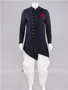 Marvelous Imported long sleeve Indo Western in Navy color with Fancy Buttons Work will create an individual look. Indian Groom Wear, Indian Wear, Mens Kurta Designs, Kurta Design For Men, Prince Suit, Kurta Pajama Men, Sangeet Outfit, Indian Men Fashion, Kids Fashion