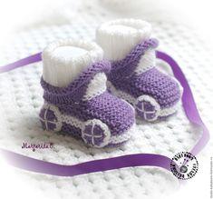 Купить Пинетки машинки - фиолетовый, пинетки, пинетки для новорожденных, пинетки для малыша, пинетки вязаные