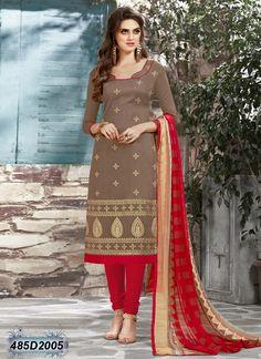 Picturesque Brown Coloured Chanderi Unstitched Salwar Suit