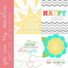 You Are My Sunshine Set (set of 4 prints) rainbow colors, chevron, hearts, flowers - 8x10. $42.00, via Etsy.