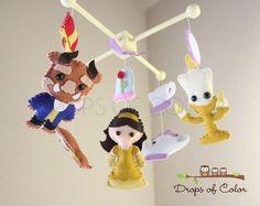 Baby Mobile - Baby Crib Mobile - Beauty and the Beast Princess Mobile - Girl Nursery Room Decor - Disney Princess - Story Book Teapot Rose