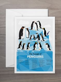 Pop Chart Lab --> Design + Data = Delight --> The Panoply of Penguins Greeting Card