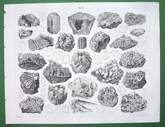 Drawings of minerals and crystal matrices