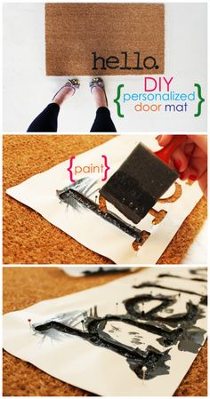 DIY personalized door mat. Super cute ideas for adding a touch of style to your home's front entrance. Pinned over 3K times!