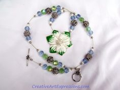 Gifted Creative Art Expressions Handmade Green & White Flower Necklace