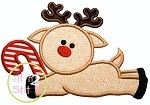 Reindeer Candy Cane Applique