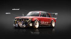 1974 BMW 2002 Inbound Racer, Yasid Oozeear on ArtStation at https://www.artstation.com/artwork/6Lx36