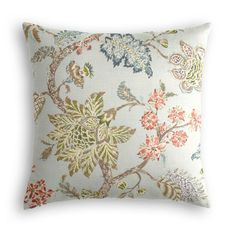 Create a cozy spot for your reading or dining nook with this Delicate Aqua Blue Floral Pillow | Loom Decor