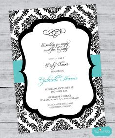 Breakfast at Tiffany's Baby Shower Invitation with Chandelier and Damask Print PRINTABLE DIGITAL FILE