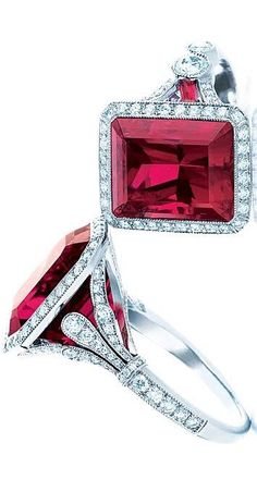 Platinum and emerald-cut rubellite and diamond rings, price upon request, Tiffany  Co.Photo: Carlton Davis