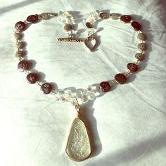 """Handmade Opalite Necklace Gorgeous handmade Brazilian opalite and glass/clay beaded 18"""" long necklace. Pendant measures almost 2"""". **All items sterilized before shipping. Smoke free home.** Jewelry Necklaces"""