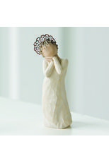 Willow Tree Angel Love Figurine  Each original# WillowTree #sculpture is hand carved by artist #SusanLordi. Using #family and #friends as models, Susan's goal is to capture a moment in time or express an intimate feeling. Pieces are cast from her original carvings and individually painted by hand. Softly washed colors, carved and metal accents, and representative icons of nature add depth and sentimentality to this beloved line.