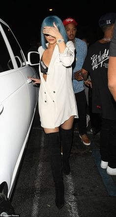 Kylie Jenner flashes a glimpse of her bralet after partying with Tyga #dailymail