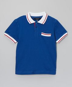 This Blue Contrast Polo - Toddler & Boys is perfect! #zulilyfinds