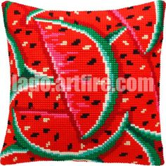 Watermelon or Parrot, or Flowers pillowcase cross-stitch DIY embroidery kit craft set, houswarming gift Diy Bead Embroidery, Vintage Embroidery, Embroidery Patterns, Cross Stitch Patterns, Cross Stitch Cushion, Diy Pillow Covers, Lazy Daisy Stitch, Tapestry Crochet, Embroidery Techniques