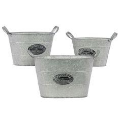 galvanized zinc metal bucket with metal handles set of 3
