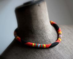 Orange African Style Necklace Maasai Beadwork Style Necklace