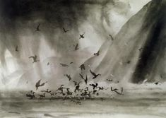 Morning Rain by Norman Ackroyd exhibiting artist . Since his last show at the North House Gallery two years ago, Norman Ackroyd RA Norman Ackroyd, Morning Rain, Etching Prints, A Level Art, Chiaroscuro, Drawing Techniques, Landscape Art, Light In The Dark, Painting & Drawing