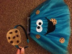 Jasmine's 2012 Homemade Cookie Monster costume with cookie headband
