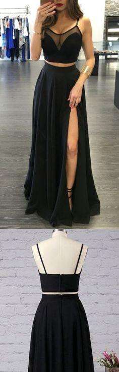 Long A-line/Princess Prom Dresses, Black Spaghetti Strap With Split-front Floor-length Prom Dresses M1444
