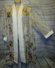 Park Fashion 3x Kimono Open Swing Cardigan Sheer Egyptian Gold Duster Jacket #ParkFashion #Kimono #Formal