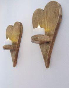 Paar der wiedergewonnenen Holz kleines Herz geformt LED Tee