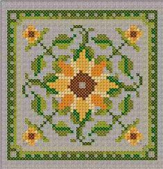 Manuela's Sunflower, You can produce very particular designs for textiles with cross stitch. Cross stitch versions can very nearly surprise you. Cross stitch novices could make the versions they want without difficulty. Biscornu Cross Stitch, Cross Stitch Pillow, Cross Stitch Love, Cross Stitch Flowers, Cross Stitch Charts, Cross Stitch Designs, Cross Stitch Embroidery, Embroidery Patterns, Cross Stitch Patterns