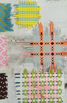 Paper Weaving by textile designers Helle Gråbæk & Maria Kirk Mikkelsen. via Patternbank
