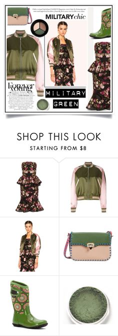 """""""Attention! Go Army Green"""" by ewa-naukowicz-wojcik ❤ liked on Polyvore featuring Alexander McQueen, Valentino, Bogs, Smashbox and Gogreen"""